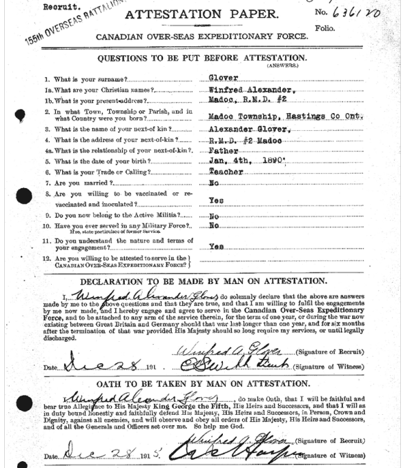 Fred Glover's enlistment report