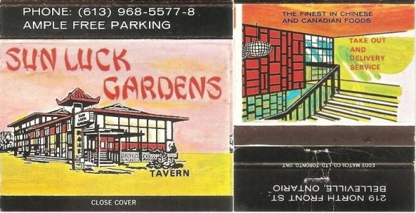Sun Luck Gardens matchbook