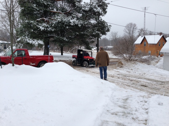clearing the driveway at the Manse