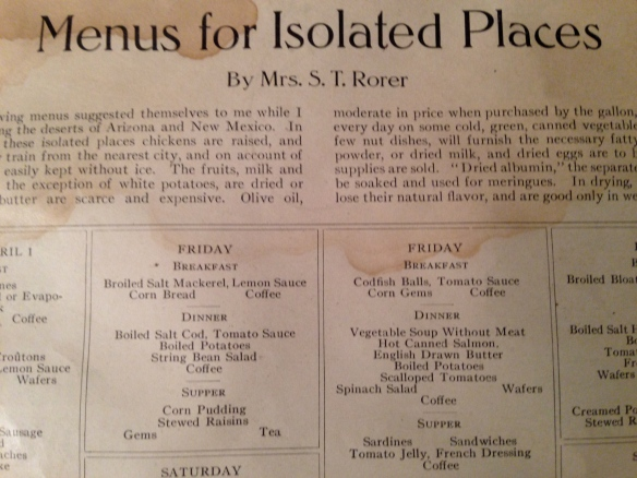 Menus for Isolated Places, Ladies' Home Journal