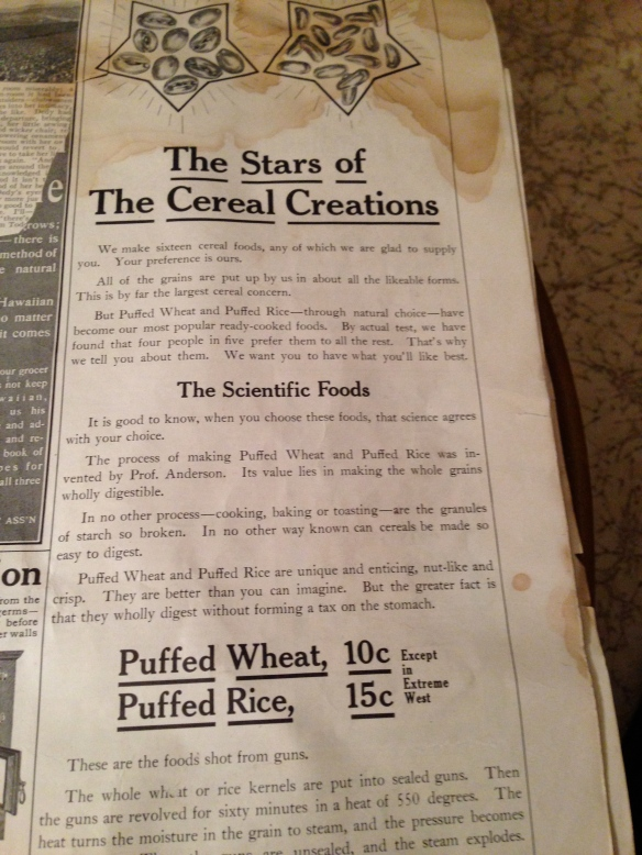 old Quaker Oats ad for Puffed Wheat and Puffed Rice