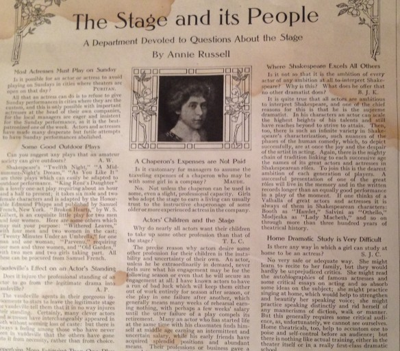 Ladies Home Journal April 1910, The Stage and its People