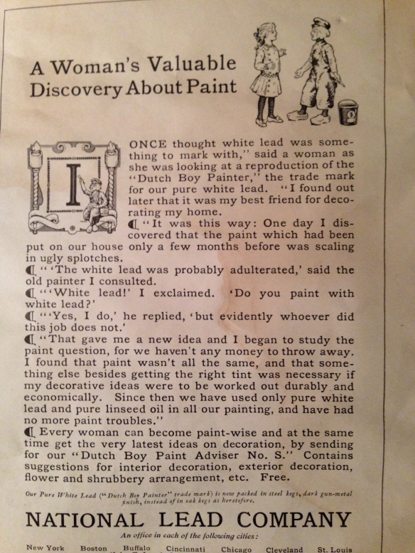 old advertisement for lead paint