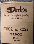 Dack's from Thos. A. Ross matchbook