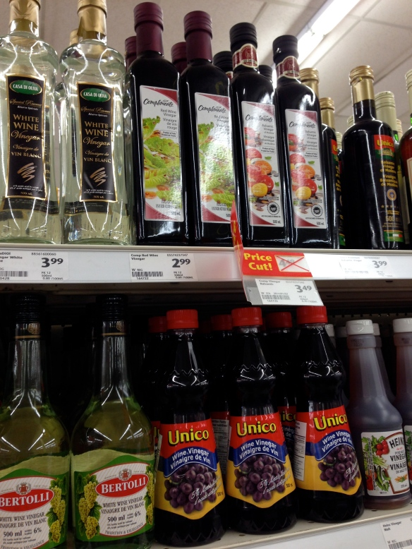 lots of vinegars at the Foodland