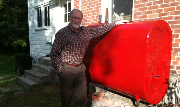 Raymond and the newly painted oil tank