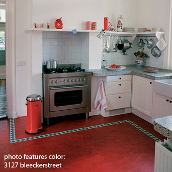 red linoleum with decorative trim