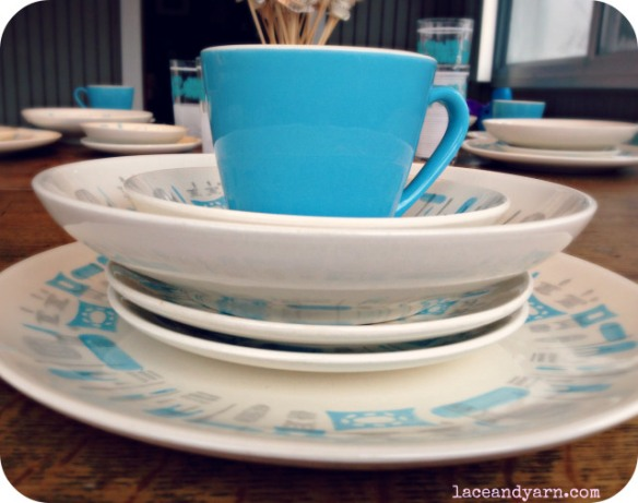 Blue Heaven dinnerware from Lace and Yarn
