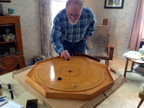 Raymond tries our crokinole