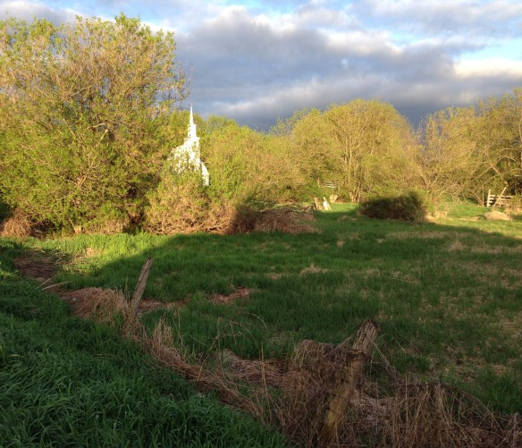 Anglican church and fields, late-day sunlight