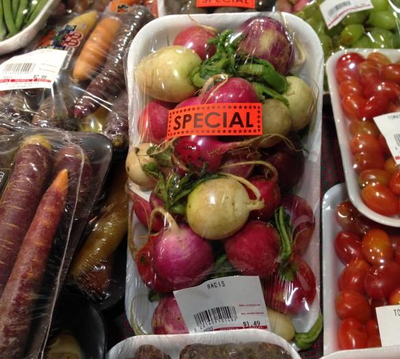 Multicoloured radishes