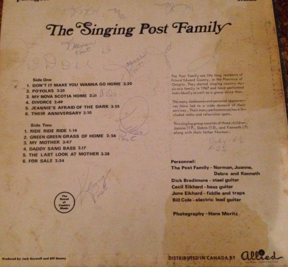The Singing Post Family, back cover