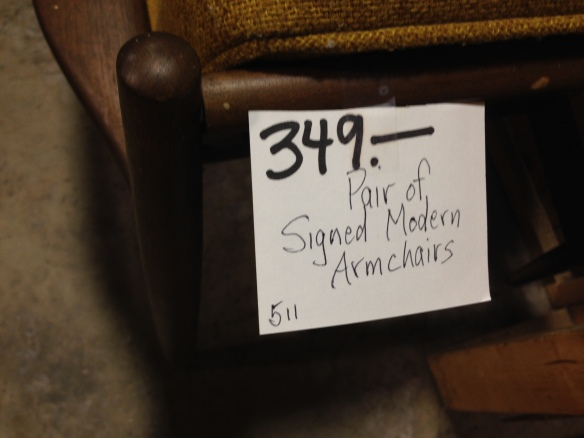 Armchairs price tag