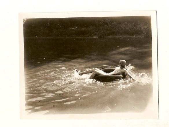 Swimming in an inner tube