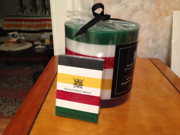 Hudson's Bay candle and cards
