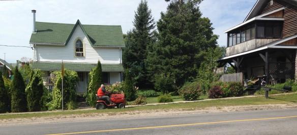 John mowing the grass
