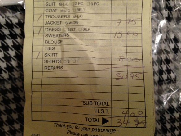 dry-cleaning bill