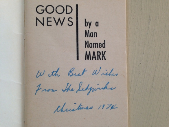 Mark's gospel, inscribed by Dad