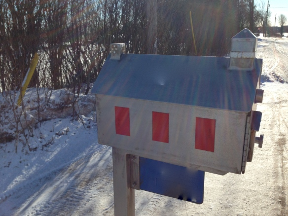 Schoolhouse mailbox closeup