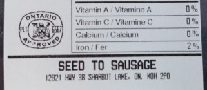 Seed to Sausage back label