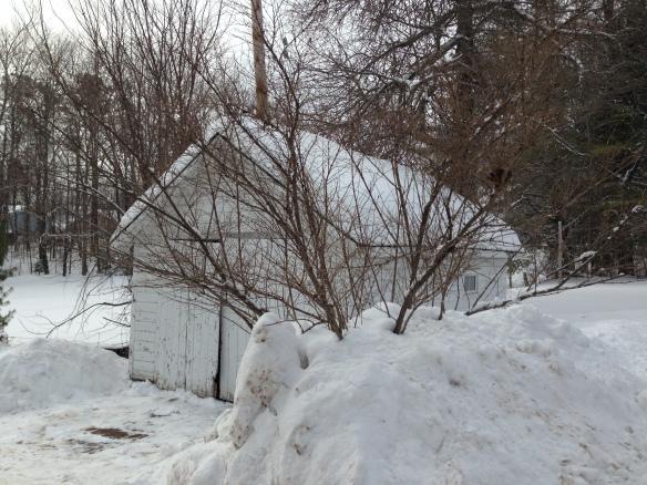 Front of garage shovelled