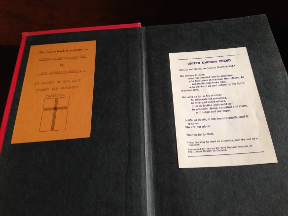 Inside cover of The Hymn Book