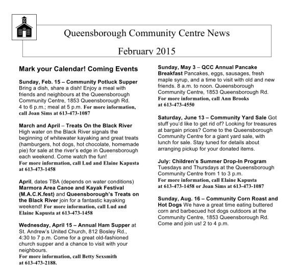 QCC Newsletter February 2015
