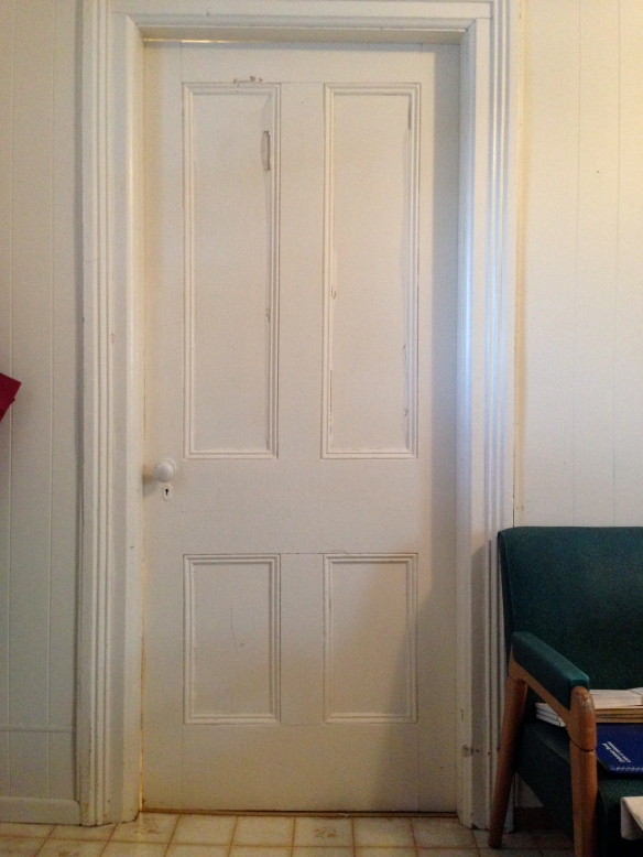 Bathroom door at the Manse