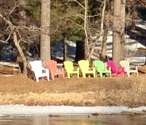 Closeup of the riverside chairs