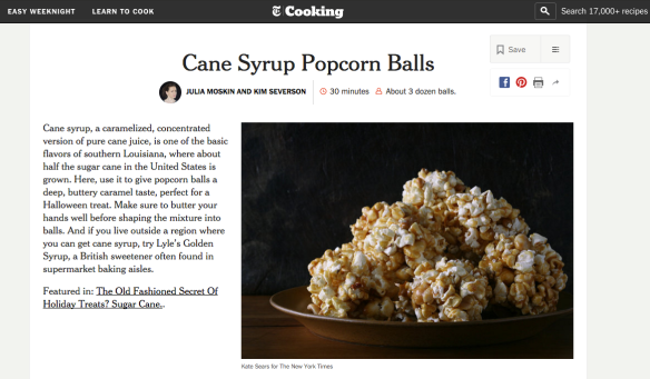 NYT popcorn balls