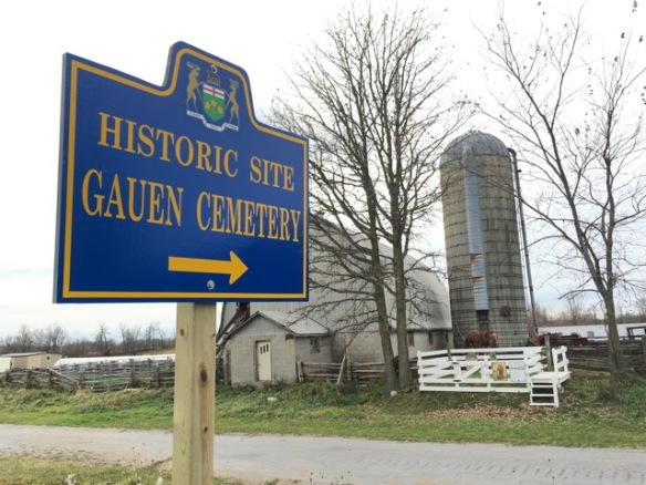 Gauen Cemetery historic-site sign