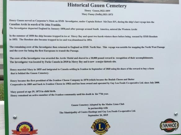 Gauen Cemetery plaque