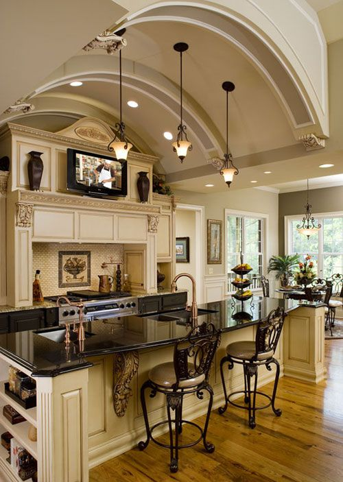 Beige and black dream kitchen