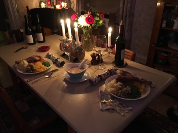 Christmas dinner by candlelight at the Manse – just Raymond and me, and was it ever nice!