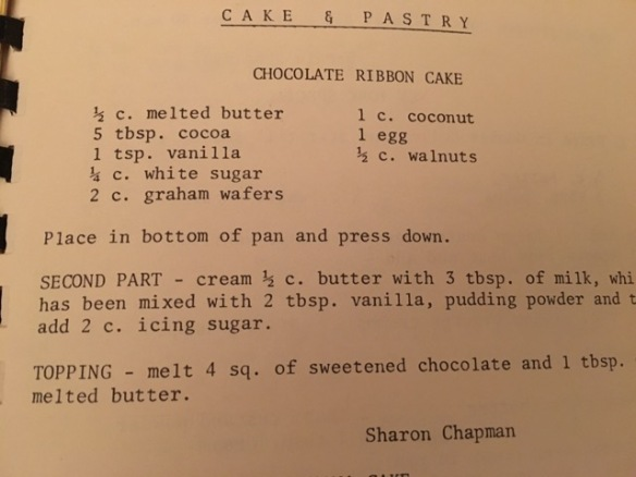 Cooper Comets Cook Book, Chocolate Ribbon Cake