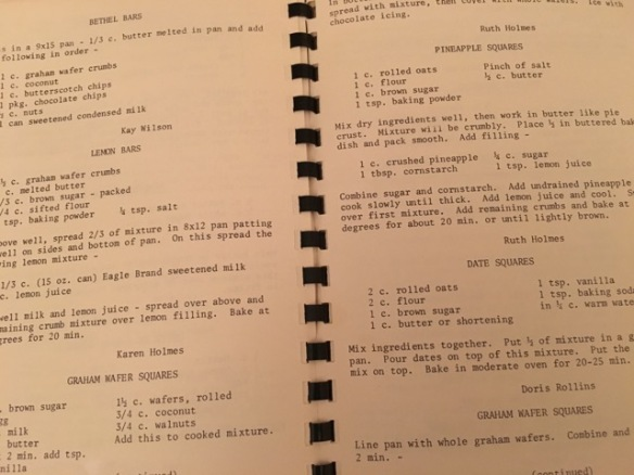 Cooper Comets Cook Book, squares and bars