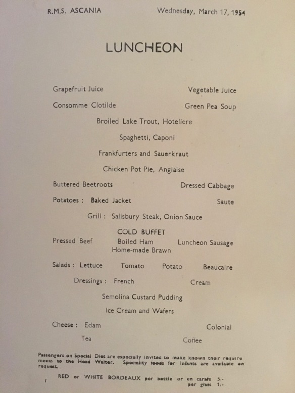 Ascania luncheon menu