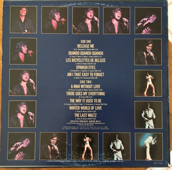 Engelbert Humperdinck's Greatest Hits back cover