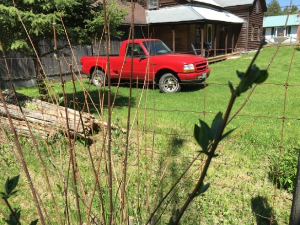 Red truck, Kincaid House and mock orange