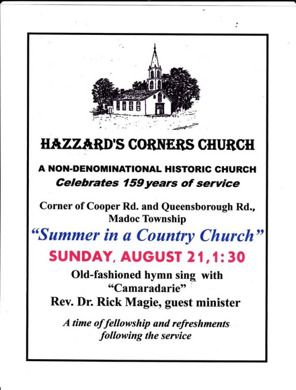 Hazzards Summer Service 2016 poster