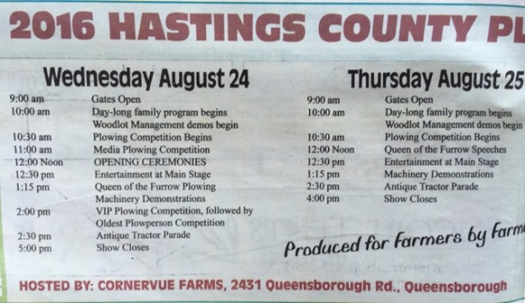 Plowing Match schedule