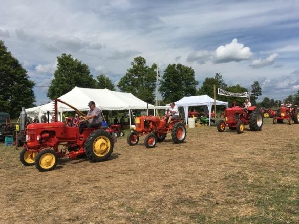 Vintage tractors on parade