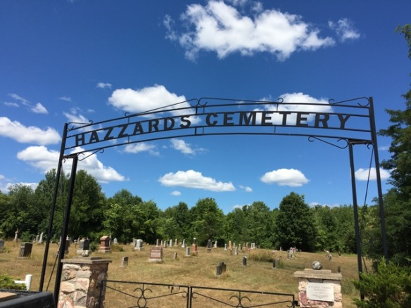 Sign over Hazzards Cemetery