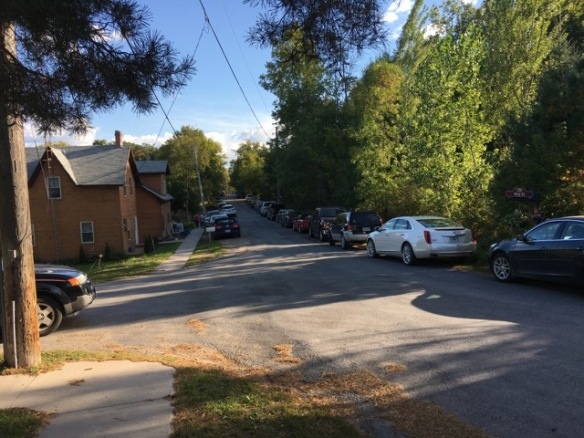 Cars parked all through Queensborough for the Turkey Supper