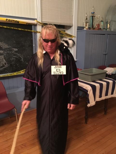 Judge Ed with his pet skunk