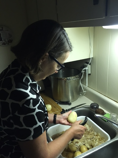 Peeling potatoes for the Turkey Supper