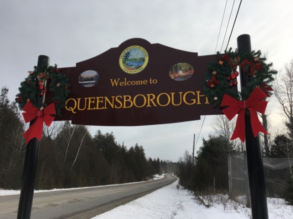 Christmas sign, north entrance to Queensborough