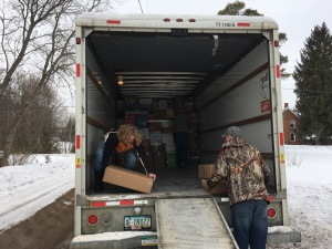 Jen and Dustin loading the truck