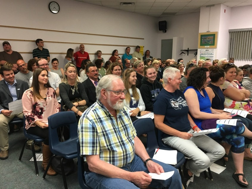 Big crowd at the school-board meeting