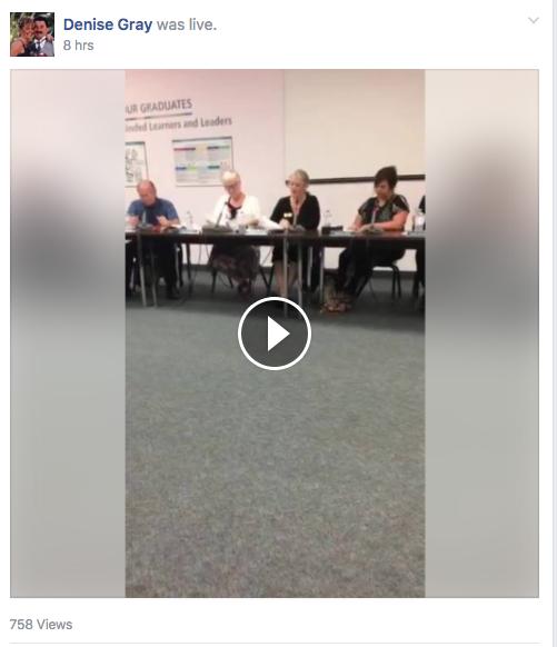 Facebook Live, school-board meeting